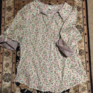 Anthropologie Odille Floral Button Down Shirt Sz 6